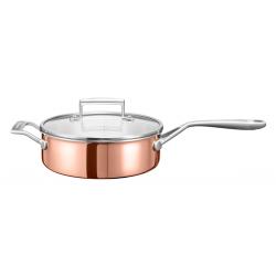 3-х слойная сковорода для пассеровки с крышкой, 24cm, 3.3л, (медь)
